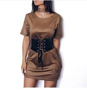 dress,velvet,belt,brown,t-shirt