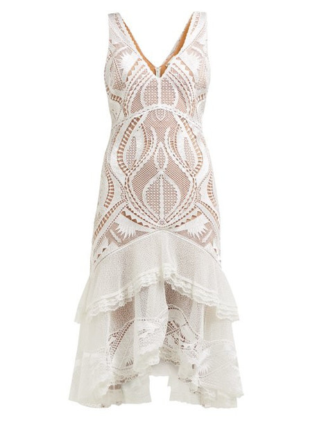Jonathan Simkhai - Guipure Appliqué V Neck Dress - Womens - White