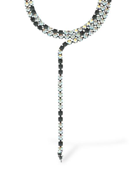 MM6 MAISON MARGIELA Crystal Pendant Necklace W/ Earring in silver