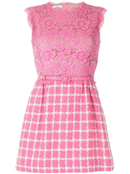 Valentino Pre-Owned lace panel checked dress in pink