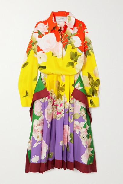 VALENTINO - Pleated Floral-print Silk-blend Twill Midi Dress - Yellow