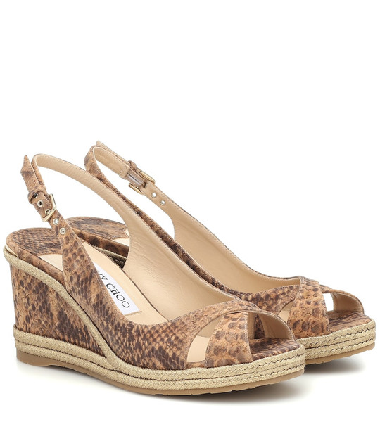 Jimmy Choo Amely 80 leather wedge sandals in brown