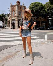 top,graphic tee,skirt,denim,denim skirt,boots,nude boots,black t-shirt