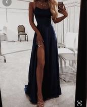 dress,long dress,prom dress,dark blue,evening dress