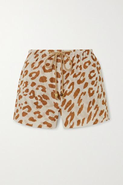 Nanushka - Febe Leopard-print Organic Cotton-voile Shorts - Leopard print