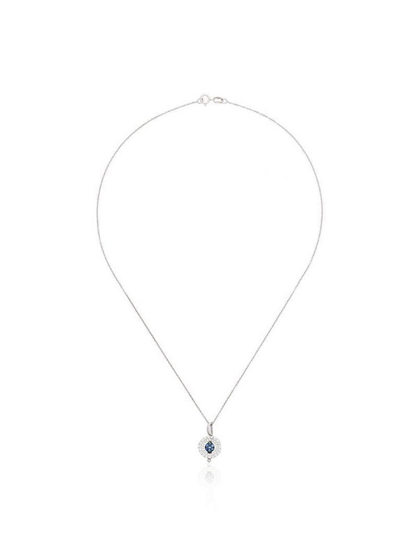 Luis Miguel Howard reverso mini rounded pendant sapphire 18K white gold necklace in metallic