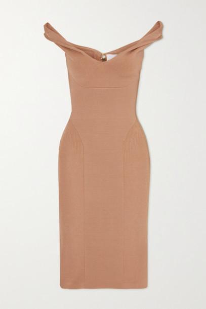 AZ Factory - Mybody Off-the-shoulder Stretch-knit Dress - Beige