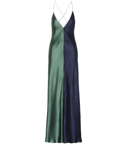 Lee Mathews Sierra silk maxi dress in blue