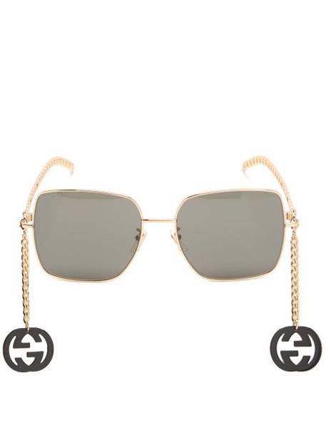 Gucci - GG Chain-charm Square Metal Sunglasses - Womens - Black Gold