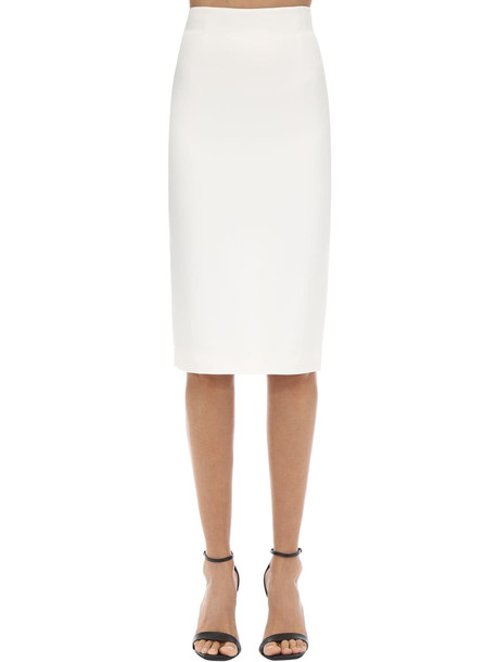 ALEXANDER MCQUEEN Leaf Crepe Pencil Skirt in white
