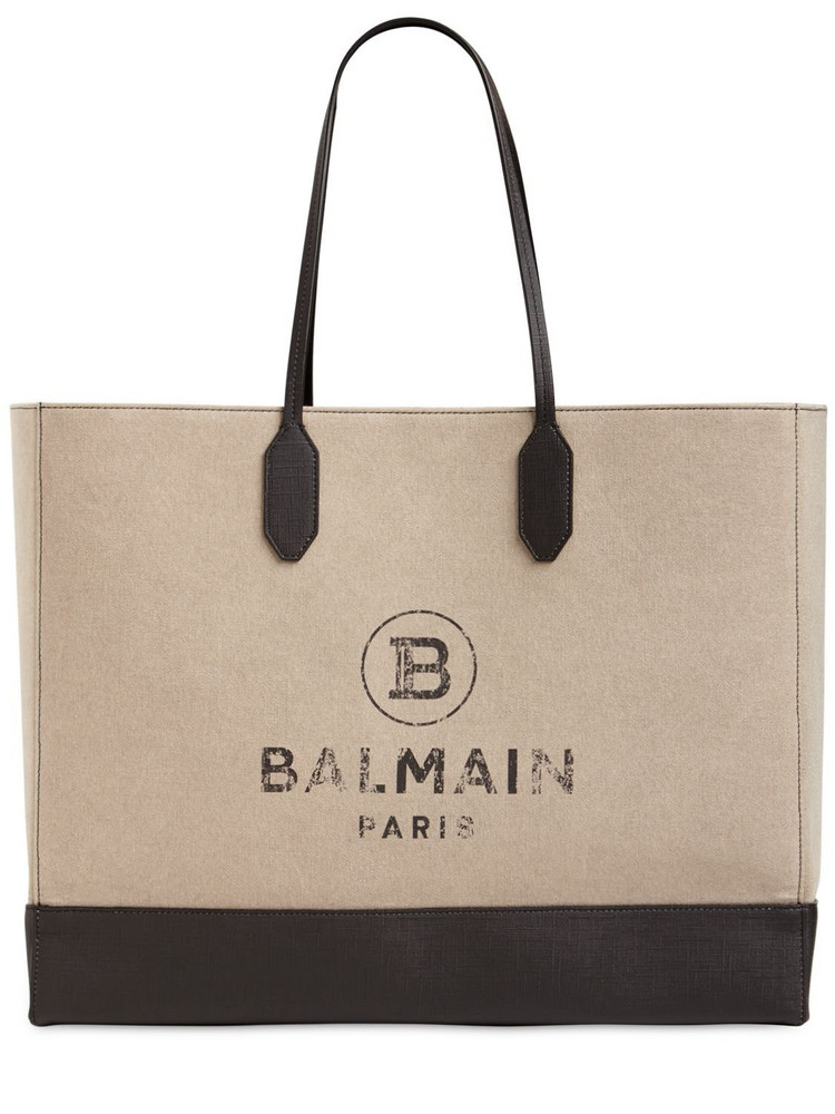 BALMAIN Canvas & Coated Canvas Tote Bag in natural
