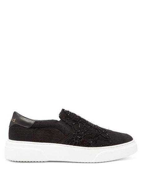 By Walid - Beaded 19th Century Textile Slip On Trainers - Womens - Black