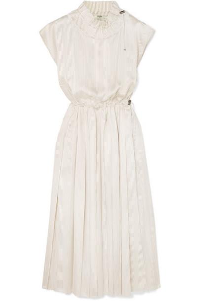 Fendi - Pleated Striped Silk Midi Dress - White