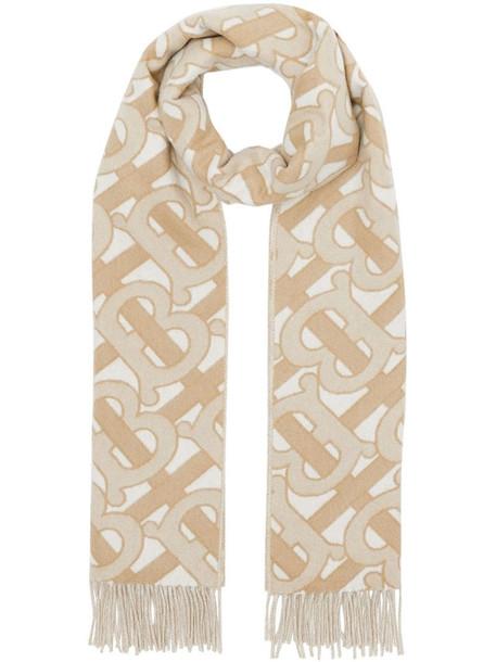 Burberry monogram fringed scarf in neutrals