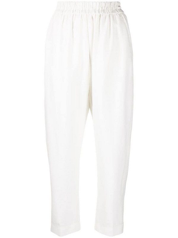 Forte Forte elasticated cropped trousers in white