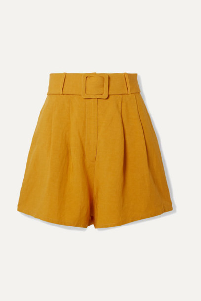 Adriana Degreas - Belted Pleated Linen Shorts - Mustard