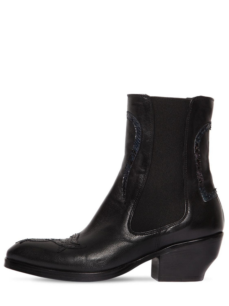 ROCCO P. 50mm Leather & Python Skin Ankle Boots in black
