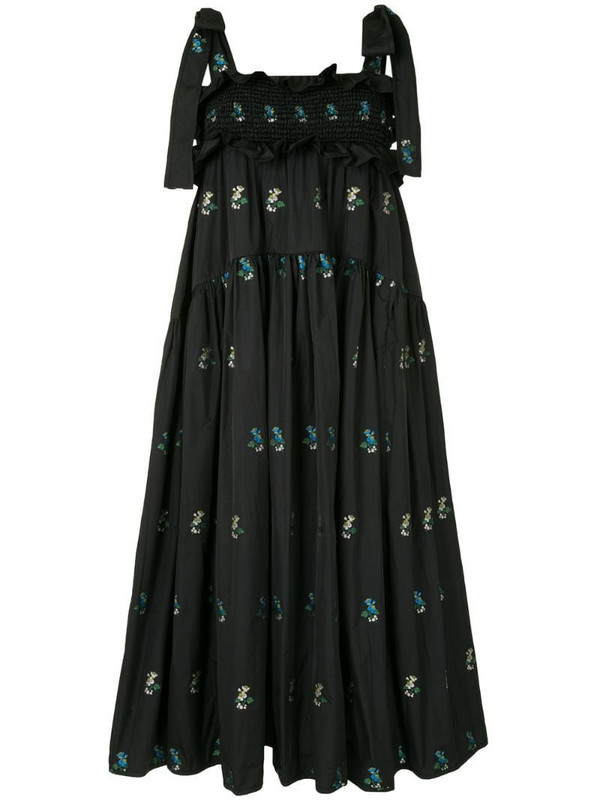 Cecilie Bahnsen Mika floral embroidered dress in black