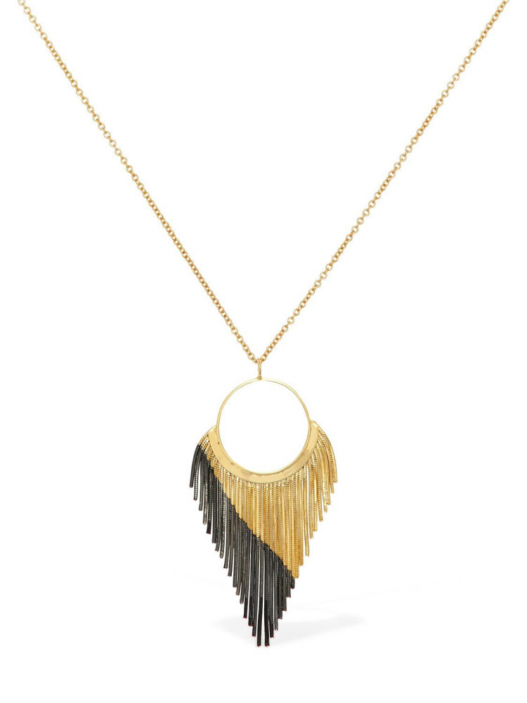 IOSSELLIANI Long Necklace W/ Fringed Hoop Pendant in black / gold