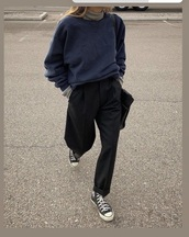 pants,black,straight cut,baggy,sweater,navy,oversized,soft