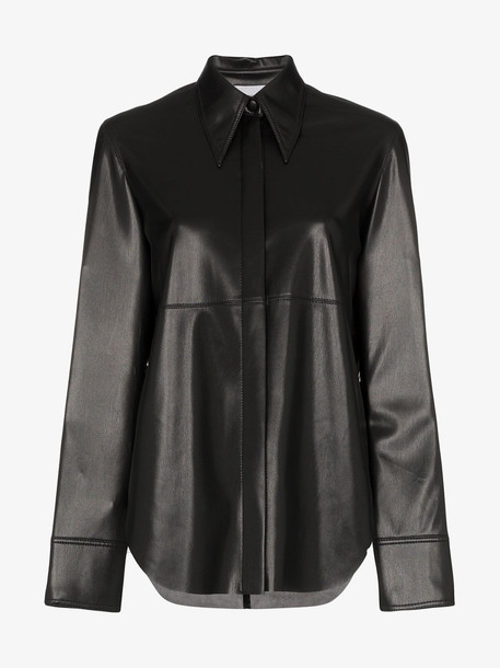 Nanushka Noelle Vegan Leather Top Shirt in black