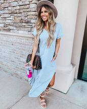 dress,maxi dress,grey dress,slit dress,pocket dress,flat sandals,louis vuitton bag,hat