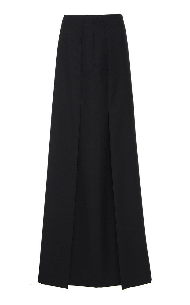 Valentino Pleated Wool-Blend Maxi Skirt in black