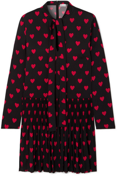 REDValentino - Pleated Printed Crepe De Chine Mini Dress - Black