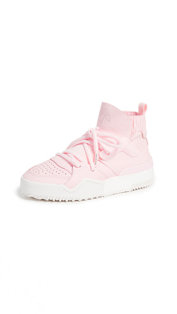 adidas Originals by Alexander Wang AW Bball Hi-Top Sneakers in pink / white / clear