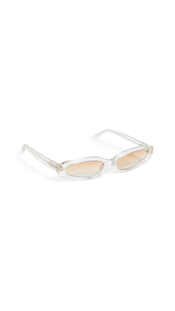 Linda Farrow Luxe Super Thin Sunglasses in gold / clear