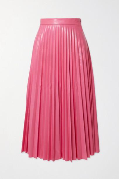 MM6 Maison Margiela - Pleated Vinyl Midi Skirt - Pink