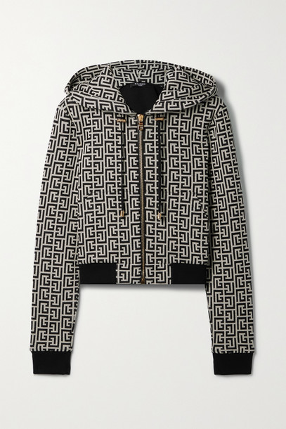 Balmain - Cropped Jacquard-knit Cotton Hoodie - Black