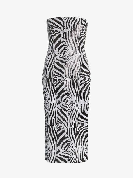 Halpern zebra print sequin embellished midi dress
