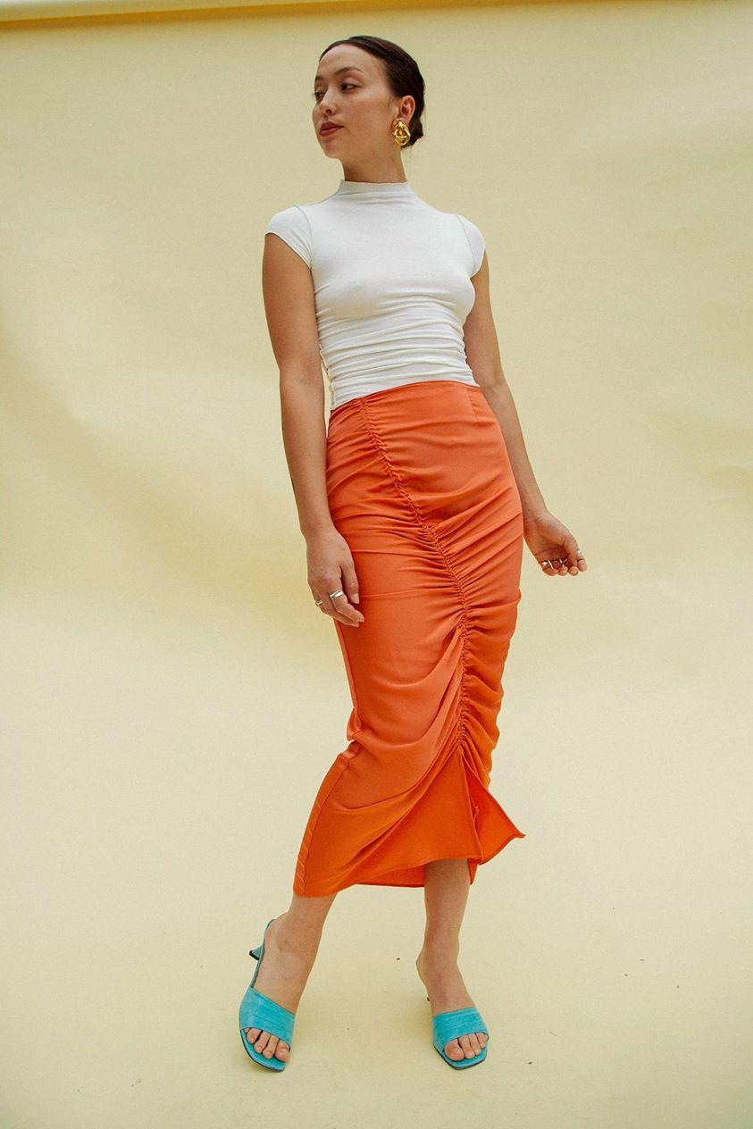 Sisilia Drawcord Midi Skirt Coral