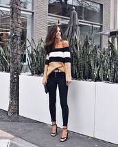 sweater,off the shoulder sweater,black sandals,black skinny jeans,belt,handbag