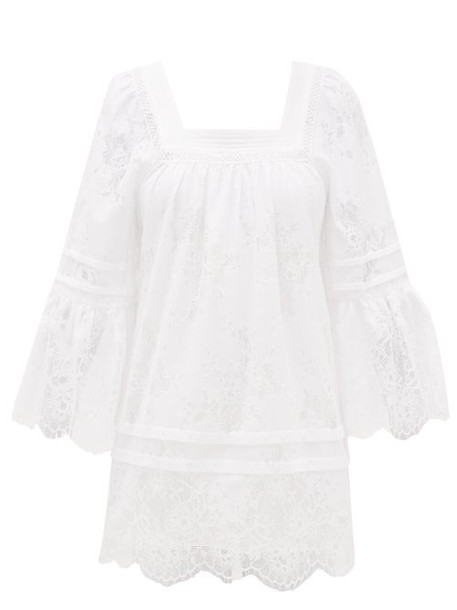 Self-portrait - Backless Lace-trimmed Voile Tunic Dress - Womens - White