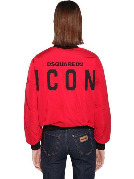 DSQUARED2 Back Logo Nylon Taffeta Jacket in red