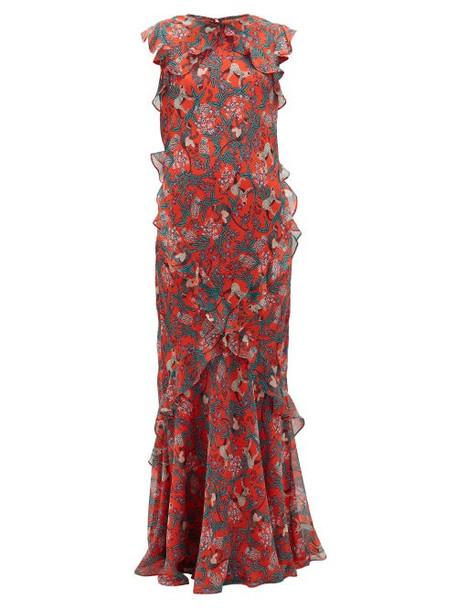 Saloni - Tamara-b Monkey-print Frilled Silk Dress - Womens - Red Multi