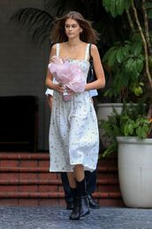 dress,floral,midi dress,celebrity,model off-duty,kaia gerber,boots,spring outfits