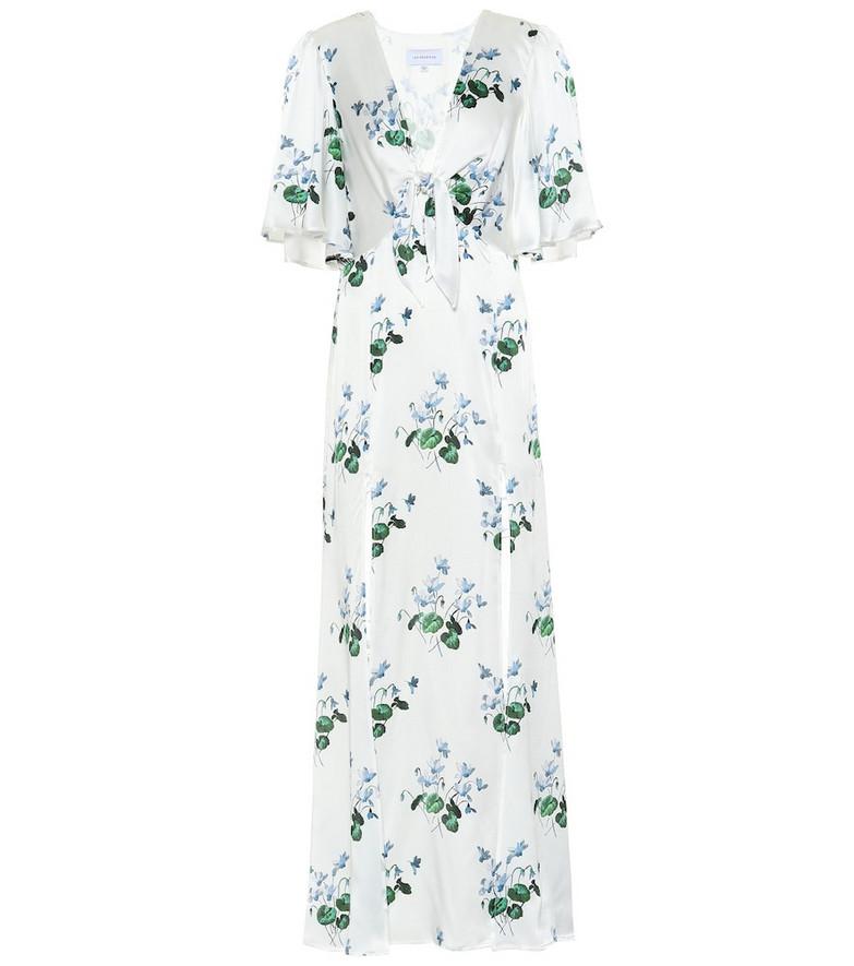 Les Rêveries Floral silk-satin maxi dress in white