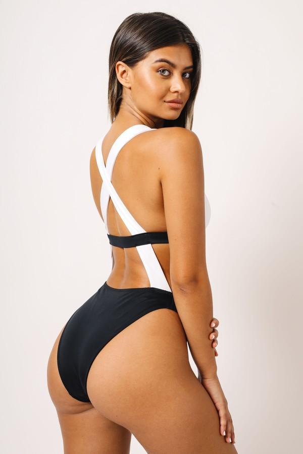 swimwear kaohs swimwear ishine365 shop ishine365 one piece swimsuit strappy detail sofia jamora black and white one piece swimsuit celebrity bikini