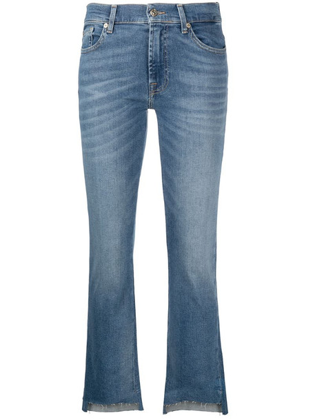 7 For All Mankind cropped kick-flare jeans in blue