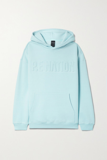 P.E NATION - Fadeaway Embossed Organic Cotton-blend Jersey Hoodie - Blue