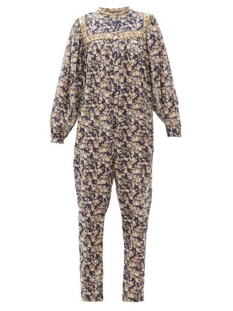 Isabel Marant Étoile - Vasco Floral-print Cotton Jumpsuit - Womens - Navy Multi