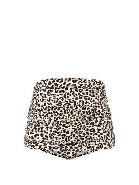 Norma Kamali - Bill Leopard Print High Rise Bikini Briefs - Womens - Leopard