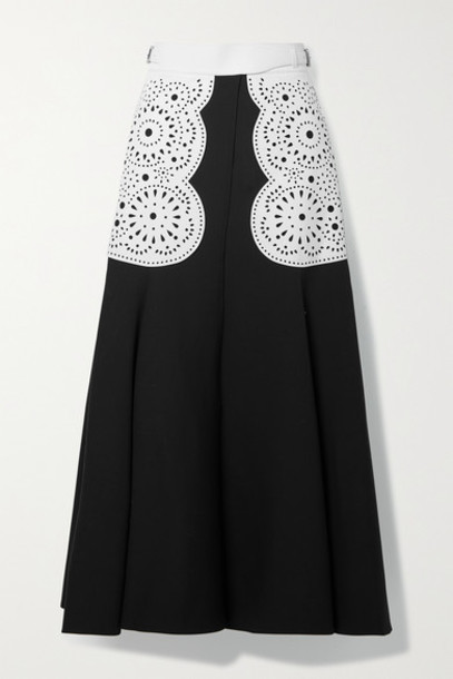 Gabriela Hearst - Ihlen Laser-cut Leather-trimmed Silk And Wool-blend Crepe Wrap Midi Skirt - Black