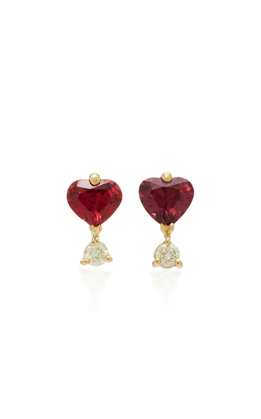 Yi Collection 18K Gold Spinel and Canary Diamond Earrings in pink