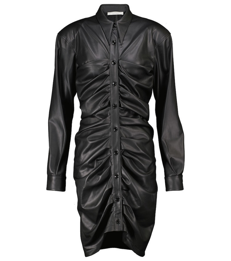 Philosophy di Lorenzo Serafini Ruched faux leather minidress in black