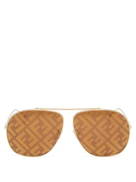 Fendi - Ff-print Aviator Metal Sunglasses - Womens - Brown Gold
