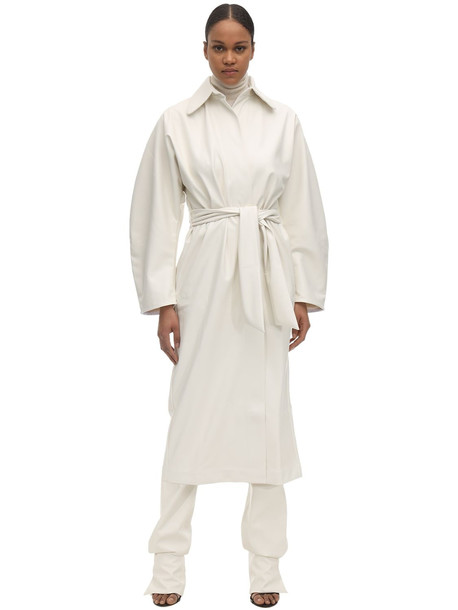 LIYA Faux Leather Trench Coat in white